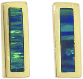 Jennifer Meyer Short Opal Inlay Bars - Yellow Gold Earrings