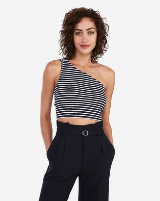 Express Ribbed One Shoulder Cropped Tank