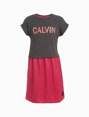 Calvin Klein Little Girls Striped Logo 2-Fer Dress