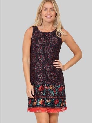 M&Co Izabel border print lace shift dress