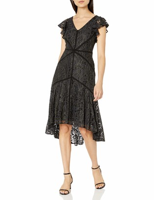 Taylor Dresses Women's Ruffle Sleeve Metallic Lace High Low Dress 6