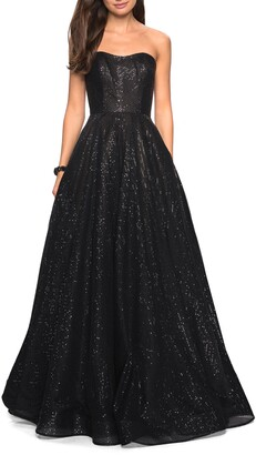 La Femme Sequin Strapless Evening Dress