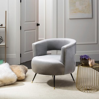 "Safavieh Mid-Century Modern Glam Manet Velvet Light Grey Club Chair - 32"" x 30.5"" x 30"""