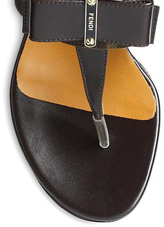 Fendi Logo-Detail Canvas & Leather Bow Wedge Sandals
