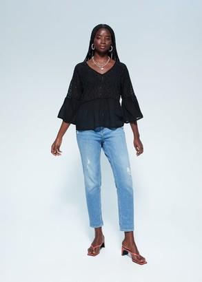 MANGO Violeta BY Embroidered openwork blouse black - 12 - Plus sizes