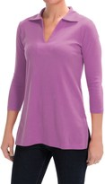 Lilla P Classic Cotton Solid Collared Tunic Shirt - 3/4 Sleeve (For Women)
