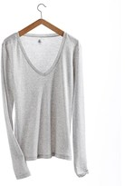 Petit Bateau Women's long-sleeved, V-neck tee in new cotton