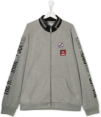 John Galliano TEEN logo print bomber jacket