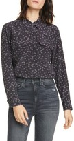 Equipment Slim Fit Dimensional Dot Print Long Sleeve Silk Blouse