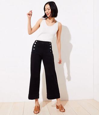 LOFT Slim Pocket Wide Leg Jeans in Washed Black Wash