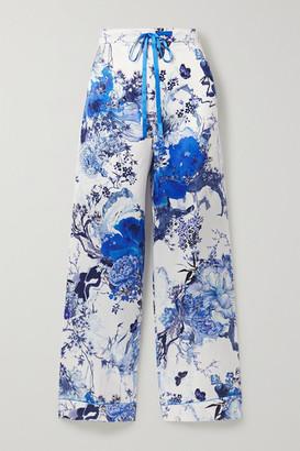 MENG Floral-print Silk-satin Pajama Pants - Ivory