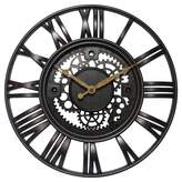Infinity Instruments Roman Gear Decorative Wall Clock Bronze/Black