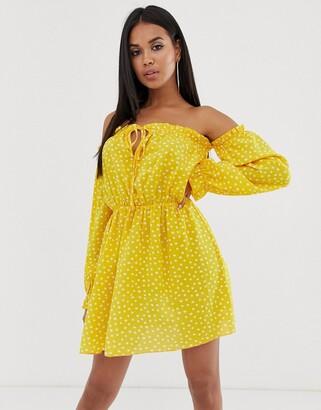 Bardot Koco & K gathered off shoulder mini dress in yellow spot