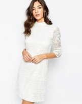 Warehouse High Neck Flute Sleeve Dress