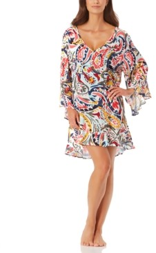 Anne Cole Watercolor Paisley Flounce Tunic Cover Up Women's Swimsuit