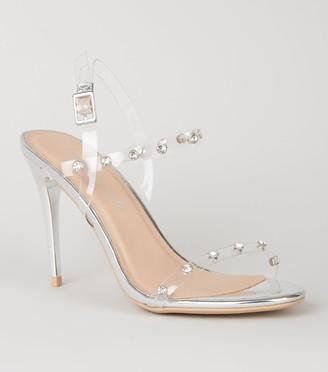 New Look Clear Strap Diamante Stud Stilettos