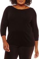 WORTHINGTON Worthington 3/4 Sleeve Boat Neck Pullover Sweater-Plus