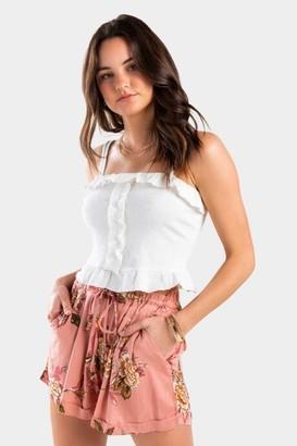 francesca's Ashten Floral Paperbag Shorts - Rose