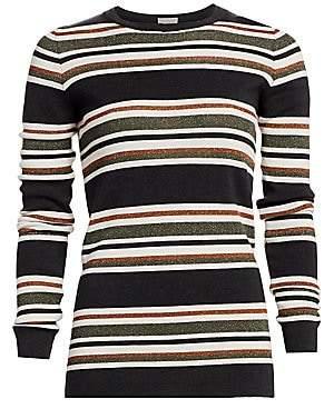 Brunello Cucinelli Women's Wool & Cashmere Lurex Striped Crewneck Sweater
