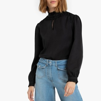 La Redoute Collections Ruffled High-Neck Blouse with Long Sleeves