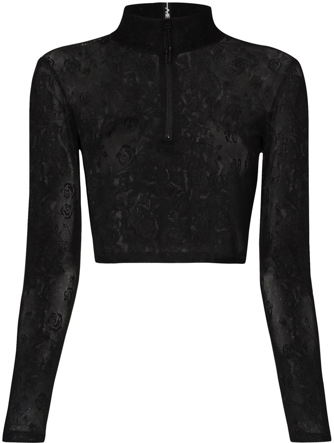 Adam Selman Sport Embroidered Floral Sheer Cropped Top