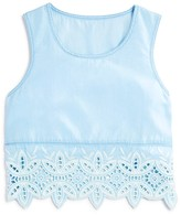 Aqua Girls' Crochet Trimmed Woven Top - Sizes S-XL