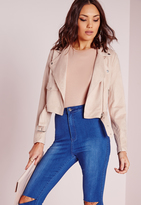 Missguided Faux Suede Biker Jacket Mink