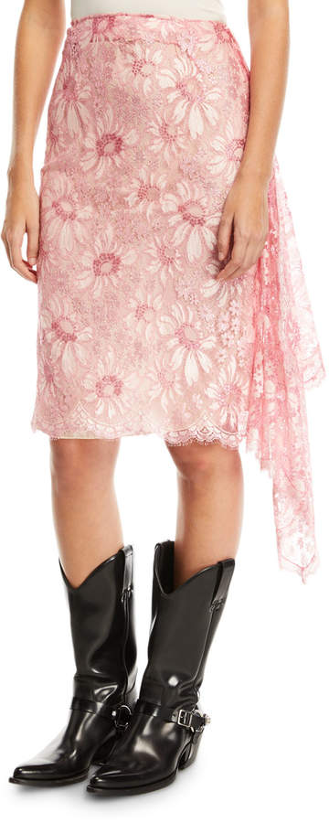 be0663b9e3 Pink Lace Pencil Skirt - ShopStyle