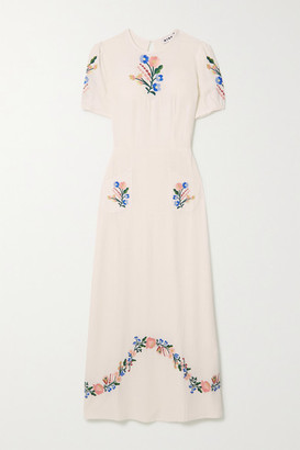 Rixo Dominique Belted Embroidered Gauze Midi Dress - Cream