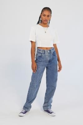 BDG High-Waisted Light Acid Wash Baggy Jeans - Blue 24 at Urban Outfitters