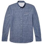 Officine Generale Button-Down Collar Selvedge Cotton-Chambray Shirt