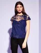 Lipsy 3d Flower Embroidered Tshirt