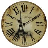 Infinity Instruments Eiffel Tower Decorative Wall Clock Vintage Beige