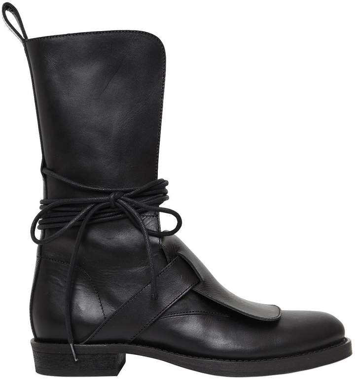 Ann Demeulemeester 20mm Wrap Around Laces Leather Boots