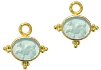 Elizabeth Locke Venetian Glass Intaglio Light Aqua 'Grifo' Earring Pendants