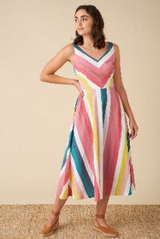 Emily And Fin Margot Rainbow Stripe Midi Dress - 16