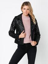 Glamorous New Womens Studded Biker Jacket In Black Jackets Leather & PU