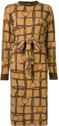 Céline Pre Owned Horse Straps Print Tied Dress