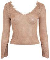 Topshop Metal yarn ribbed long sleeve top