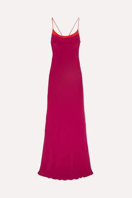 Cushnie Draped Open-back Silk-crepe Gown - Crimson