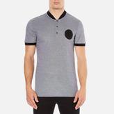 Versace Men's Bomber Collar Polo Shirt Grigio