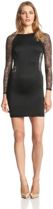 Aidan Mattox Aidan Women's Long Sleeve Illusion Lace Dress