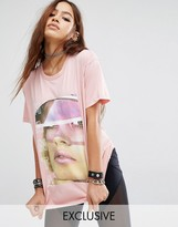 Criminal Damage X Manta Oversized Boyfriend T-Shirt With Face Graphic