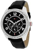 Tommy Hilfiger 1781248 Women's Classic Black Leather Watch with Crystal Accents
