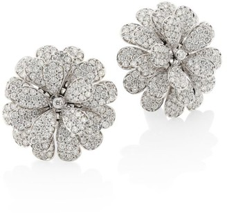 Hueb Secret Garden 18K White Gold & Diamond Flower Earrings