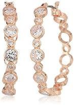 Anne Klein Rose Gold Large Stone Hoop Earrings