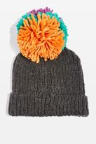 Topshop Mixed Big Pom Pom Beanie Hat