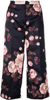Rochas floral print cropped trousers - women - Polyester/Cupro - 42