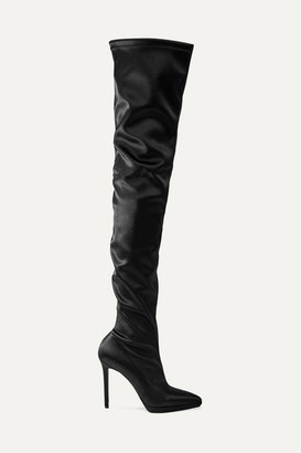 Christian Louboutin Montana 120 Stretch-satin Thigh Boots - Black