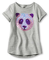 Classic Girls Plus Uneven Hem Embellished Graphic Tee-Gray Heather Panda